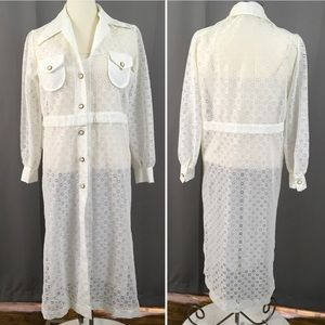 Vintage daisy eyelet summer duster cover up robe M